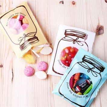 100Pcs Cute Color bottle pattern Plastic Bag Wedding Birthday Cookie Candy Gift Packaging Bags OPP Self Adhesive Party Favors