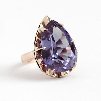 Color Change Ring - 14k Rose Gold Created Color Change Sapphire 9 + Carat Statement - Size 5 1/2 Violet Blue to Purple Pear Cut Fine Jewelry
