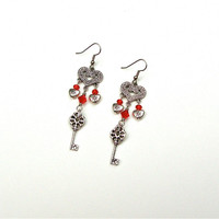 Key to my heart earrings - red and silver key and heart chandelier earrings - dangle key and heart earrings by Sparkle City Jewelry