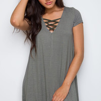 Into You Striped Dress - Olive