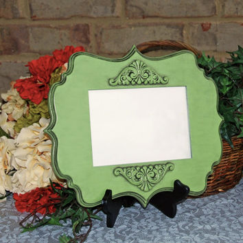 Cottage chic decor: Vintage apple green 5x7 hand-painted decorative wood wall collage gallery picture frame with embellished scroll design