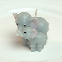 Handmade Candle: Elephant Mom & Baby Animal-Shaped Handmade Candle with Box, Baby Shower/ Cake Topper/ Birthday Party/ Wedding/ Home Decor