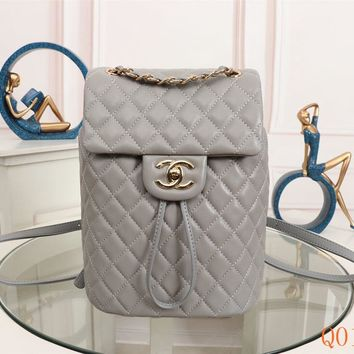 HCXX 19Aug 113 91120 Vintage Fashion Embossing Large-capacity Backpack 25-20-10cm Grey Gold