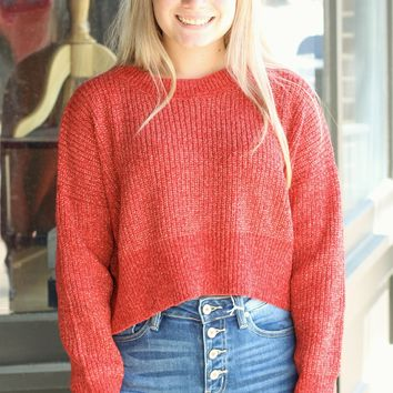 Red Metallic Weave Cropped Sweater