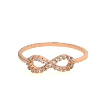 Dear Deer Rose Gold Plated Cubic Zirconia Infinity Shape Cocktail Ring