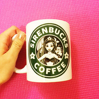 Sirenbucks Coffee Mug 11 oz -Disney Princess Starbucks - The Little Mermaid - Princess Ariel - Ceramic Tea Cup