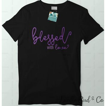 Blessed With Love Women's Crewneck Graphic Tee