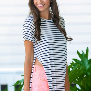 Understatedly Cool Navy Striped Top