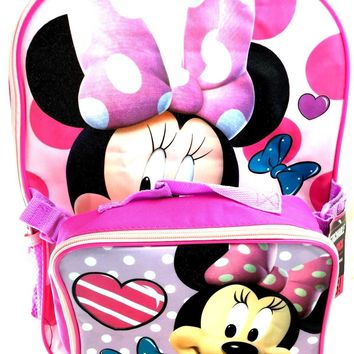 "Disney Minnie Mouse Girls Large 16"" Backpack With Lunch Bag Set"