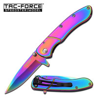 Tac Force Spring Assisted Knife 3.75 Inches Closed  With Rainbow Handle