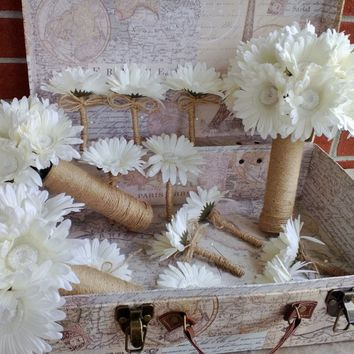 12 Piece Ivory Daisy Bouquet Bridal Bouquet Wedding Bouquet Set, Ivory Bouquet, Cream bouquet, Rustic Bouquet, Rustic wedding Ivory Flowers