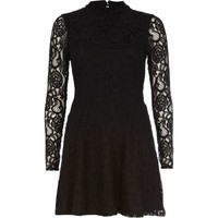 Black lace turtle neck skater dress