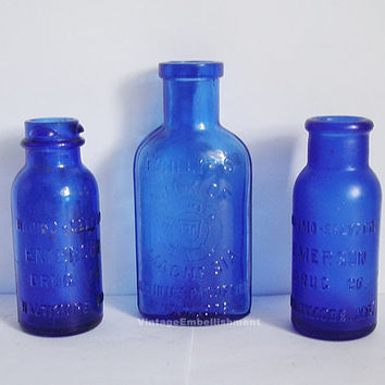 Vintage Cobalt Blue Bottle Collection, Set of 3
