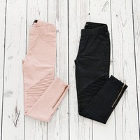 Side Zipper Moto Leggings - 10 Colors