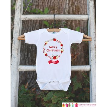 Girls Christmas Outfit - Christmas Onepiece - Bodysuit With Floral Wreath - Vintage Flowers Christmas Outfit for Baby Girls - Holiday Shirt