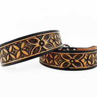 """Vintage Diamonds"" Limited Edition Genuine Leather Dog Collar by Madcow"