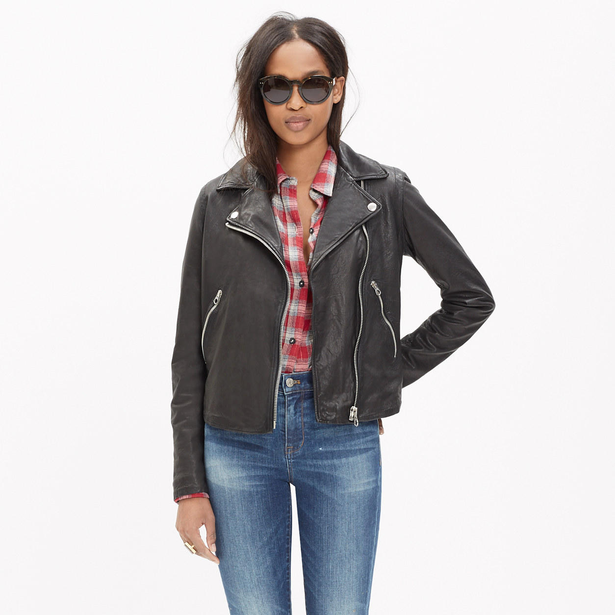 cheap price best quality finest selection Washed Leather Motorcycle Jacket from Madewell | staples