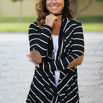 Black Striped Cardigan With Elbow Patches