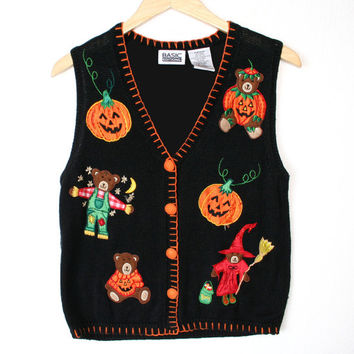 Teddy Bears in Costumes Halloween Tacky Ugly Sweater Vest