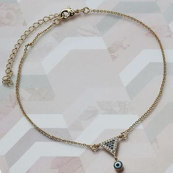 Gold Layered Women Greek Eye Charm Anklet , with Multicolor Micro Pave, by Folks Jewelry