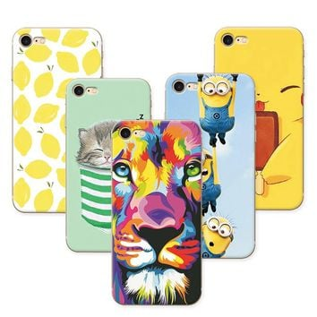 Fruit Painting Cat lion Minions Phone Cases For Apple iPhone 7 Case Cover Soft Silicone funda iPhone 7 iPhone Case 4.7 inch+Gift