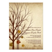 Fall Tree Silhouettes Autumn Wedding Invitations