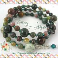 Handmade Bangle Bracelet Earring Set Stack Fancy Jasper Green Swarovski Crystal