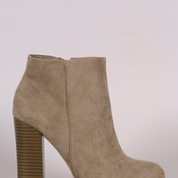 Bamboo Suede Chunky Heeled Ankle Boots