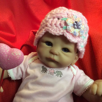 Newborn baby girl hat, Photo prop,Valentine baby hat,  pink baby hat, baby girl beanie, flower hat, gift idea, handmade,hand crochet