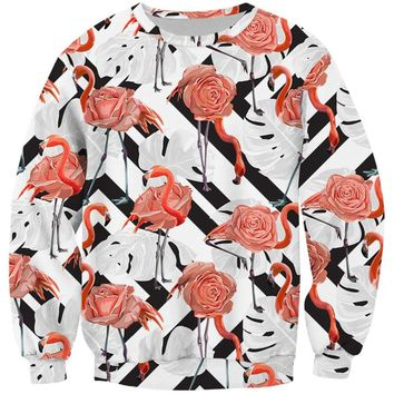 Cloudstyle 3D Full Print Sweatshirts Men Women Swan Flamingo Pullovers Unisex Hoodies 3D Bird Flower Grass Streetwear Tracksuits