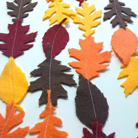 Fall Leaf Garland, Felt Leaves, Autumn Decoration, Thanksgiving Decor