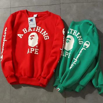 Champion X Bape Aape Fashion Print Logo Round Collar Sport Top Sweater Casual Sweatshirt