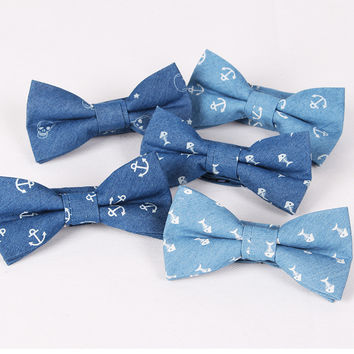 Fashion Anchor Bow Tie Men's Cotton Butterfly  for Suits British Style Bowtie Blue Fishbone Skulls Printed Wedding party Cravat