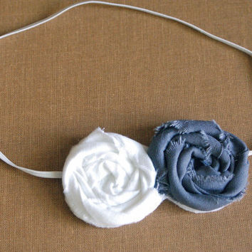White and Gray Fabric Rosette Headband/  3-12 month through adult