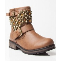 NEW Breckelle Rocker-24 Studded Round Toe Stacked Heel Ankle Motorcycle Boots TAN