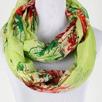 """new Pretty soft Lime GREEN FLORAL womens INFINITY SCARF 68"""" X 34"""""""