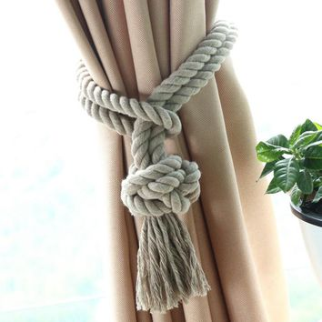 1pc Home Decor Curtain Holder Drape Curtain Accessories Tassel Tie Back Living Room Curtain Rope Tieback Curtain Clips QT005-30