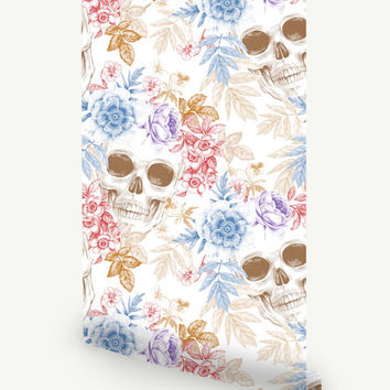 Skull Self Adhesive Wallpaper / Floral Regular or Removable Wallpaper / Skull Wall Mural / Skull Wall sticker