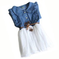Baby Girls Child Princess Party Kid Summer Denim Jeans Dress Skirt (A1, White)