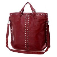 European Style Cool Rivet Pure Color Handbag