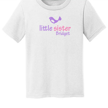 Little sister toddler shirt with custom name Cartoon Bird toddler t shirt shirt