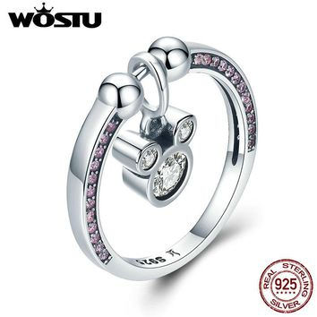 WOSTU Real 925 Sterling Silver Cute Dazzling Mouse Finger Ring & Pendant For Women S925 Luxury Cartoon Jewelry CQR127