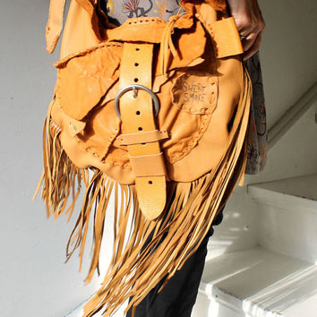 Mustard light brown distressed leather hobo messenger bag raw edge bag fringe long fringes asymmetrical  tribal bohemian western boho