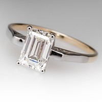 1.6 Carat Emerald Cut Diamond Engagement Ring in Two Tone Gold