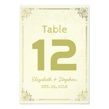 Gold Floral Frame Wedding Seating Table Number Card