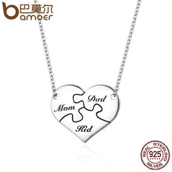 Authentic 925 Sterling Silver I Love My Family Puzzle Heart Pendant Necklaces for Women Sterling Silver Jewelry SCN150