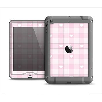 The Light Pink Heart Plaid Apple iPad Air LifeProof Nuud Case Skin Set