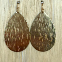 Central Texture Drop Earrings - Gold