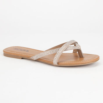Soda Bling Overlay Womens Sandals Clay  In Sizes