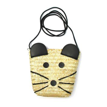 Cute Mouse Mice Face Shaped Straw Woven Cross Body Summer Beach Bag for Women
